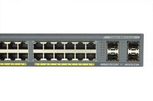 Cisco WS-C2960X-24PS-L - widok na porty uplink i dominujące.