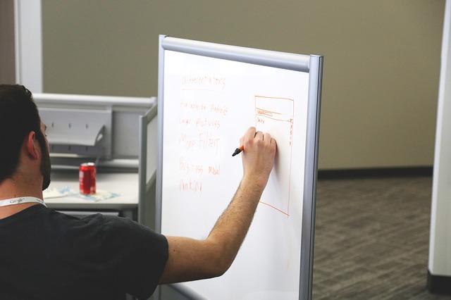 Człowiek pracujący metodą design sprint